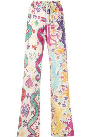 Etro Women Wide Leg Pants - Geometric-print wide leg trousers - Neutrals