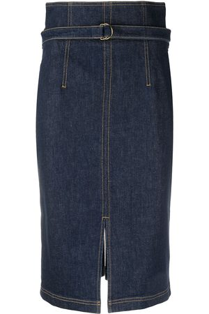 Serafini Contrast stitching denim skirt