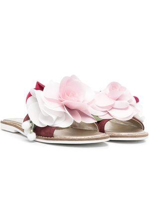 MONNALISA Floral appliqué slip-on sandals - ROSA