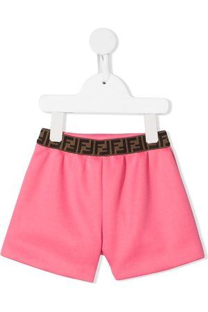 Fendi FF-logo waistband shorts