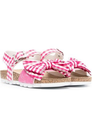 MONNALISA Bow-embellished gingham sandals