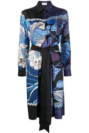 Salvatore Ferragamo Women Casual Dresses - Abstract-print silk shirt dress