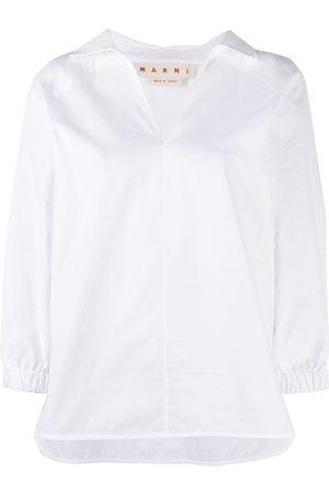 Marni Crop-sleeve V-neck shirt