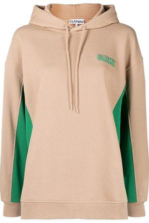 Ganni Panelled logo hoodie - Neutrals