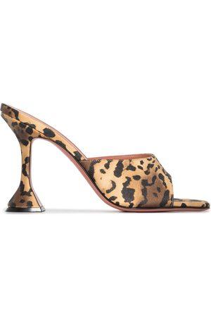 Amina Muaddi Lupita 95mm leopard-print mules