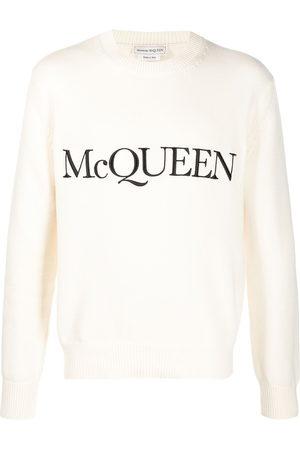 Alexander McQueen Logo-embroidered knitted jumper - Neutrals