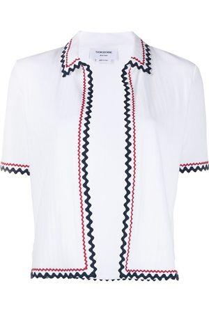 Thom Browne Zigzag trim short sleeve cardigan