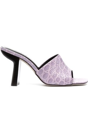 By Far Women Mules - Crocodile effect mules - LILAC