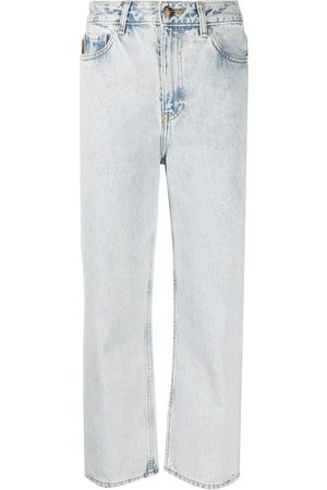 Ganni Washed high-waisted cropped jeans