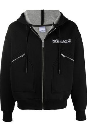 MARCELO BURLON Men Bomber Jackets - Logo hooded bomber jacket