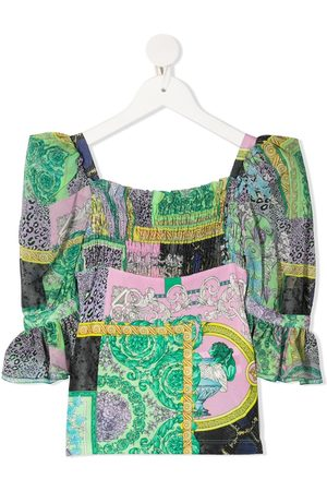 VERSACE Girls Blouses - Mixed-print blouse