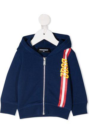 Dsquared2 Logo stripe zip-up hoodie