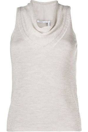 Agnona Cowl-neck knitted tank top - Neutrals