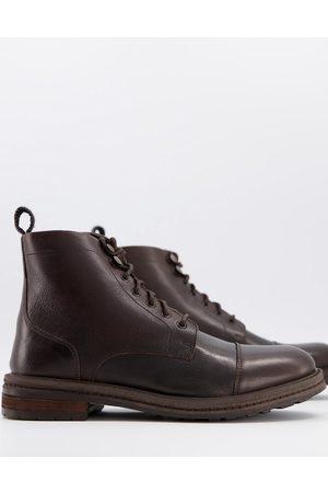 WALK LONDON Wolf toe cap boots in waxy leather