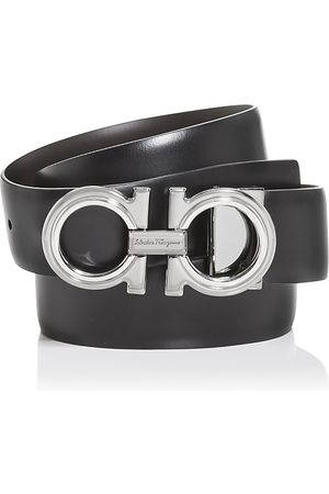 Salvatore Ferragamo Men Belts - Men's Double Gancini Leather Belt