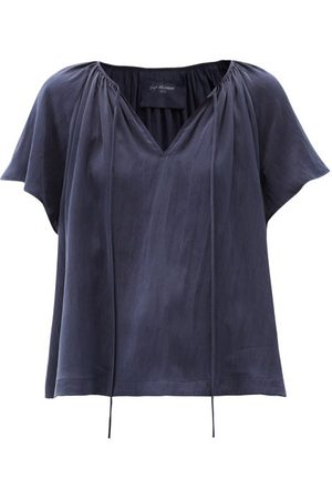 Loup Charmant Paloma Tie-neck Hammered-silk Blouse - Womens - Navy