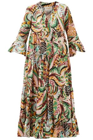 La DoubleJ Jennifer Jane Bird-print Cotton Midi Dress - Womens - Multi