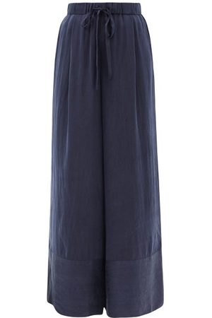 Loup Charmant Olympia Hammered-silk Palazzo Trousers - Womens - Navy