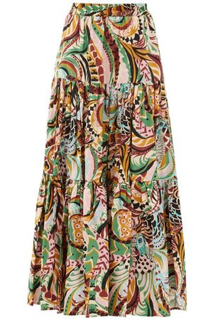 La DoubleJ Big Skirt Peacock-print Cotton-poplin Maxi Skirt - Womens - Multi