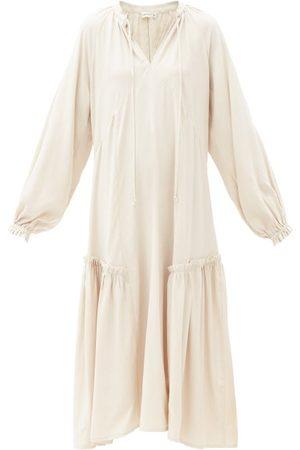 Casa Raki Women Summer Dresses - Irene Ruffle-trimmed Tie-neck Twill Dress - Womens