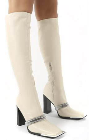 Public Desire US Manic Ankle Chain Detail Knee High Heeled Boots - US 5