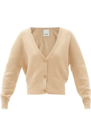 Allude Women Cardigans - Dropped-sleeve Cashmere Cardigan - Womens - Camel