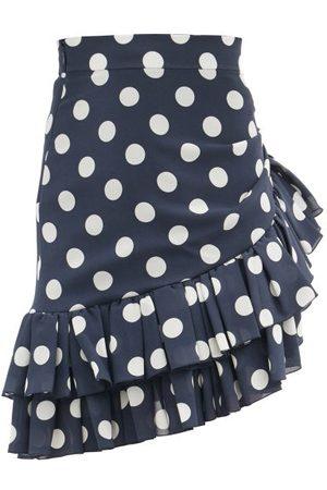 Balmain Ruffled Polka-dot Silk-georgette Mini Skirt - Womens - Navy Multi