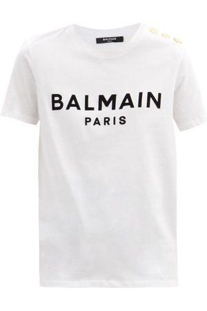 Balmain Buttoned-shoulder Logo-print Cotton-jersey T-shirt - Womens