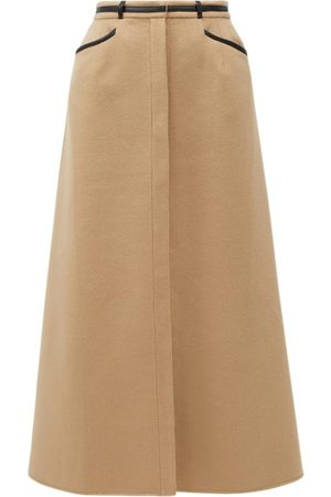 GABRIELA HEARST Women Leather Skirts - Alina Leather-trimmed Recycled-cashmere Midi Skirt - Womens - Camel