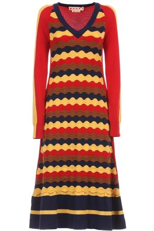 Marni Flared Wave-knitted Dress - Womens - Multi