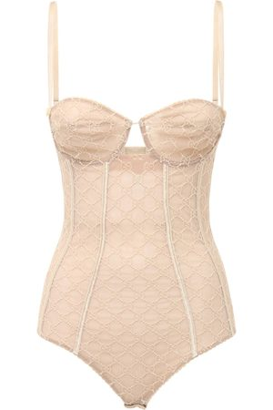 Gucci Logo Embroidery Tulle Lingerie Bodysuit