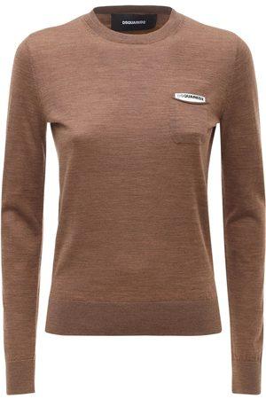 Dsquared2 Women Sweaters - Wool Flat Knit Sweater W/ Patch Pocket