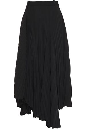 Balenciaga Woman Asymmetric Pleated Crepe Midi Skirt Size 36