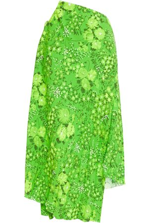 Balenciaga Women Printed Skirts - Woman Asymmetric Pleated Floral-print Crepe Skirt Bright Size 34