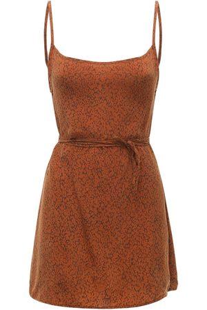ANEMOS The Km Tie Printed Cupro Mini Dress