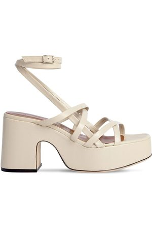 By Far 90mm Pamela Creased Leather Sandals