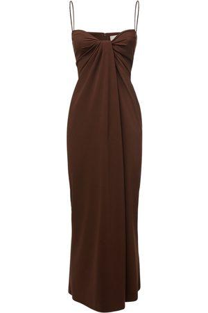 VALENTINO Knot Draping Silk Cady Long Dress