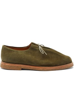 Jacques Soloviere Ray Lace-up Suede Derby Shoes - Mens - Khaki