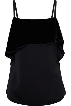 Helmut Lang Woman Layered Velvet And Sateen Camisole Size 0