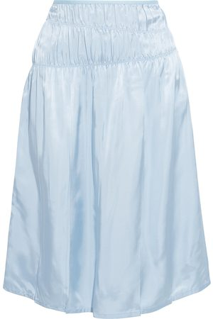 Helmut Lang Woman Ruched Satin Skirt Sky Size 0
