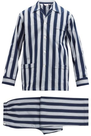 DEREK ROSE Men Pajamas - Royal Striped Cotton Pyjamas - Mens - Navy
