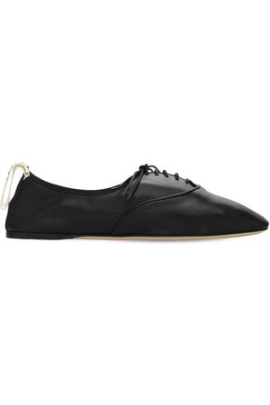 Loewe Women Formal Shoes - 10mm Soft Leather Lace-up Derby Flats