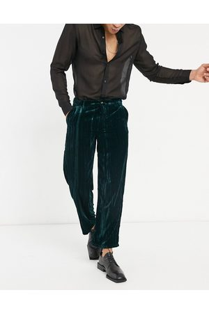 ASOS Wide pants in crushed velvet in deep