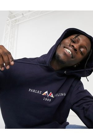 Parlez Jetty embroidered hoodie in navy