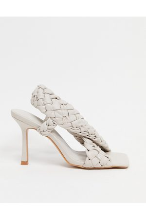 ASOS Nock woven cross strap heeled sandals in off white