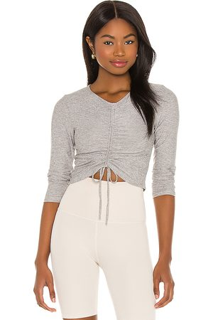 Beyond Yoga Scrunch It Up Cropped Pullover in Grey.