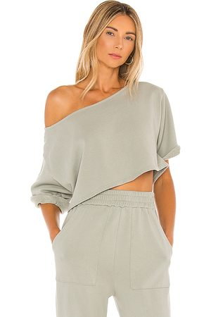 Lovers + Friends Cropped Off Shoulder Top in Sage.