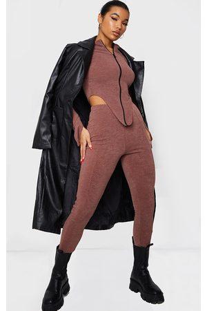 PRETTYLITTLETHING Women Leggings - Chocolate Ribbed Seam Front Leggings