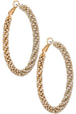 Ettika Crystal Hoop Earrings in Metallic .