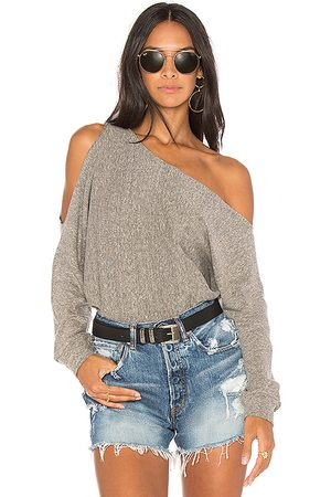 Lanston One Shoulder Pullover in Gray.